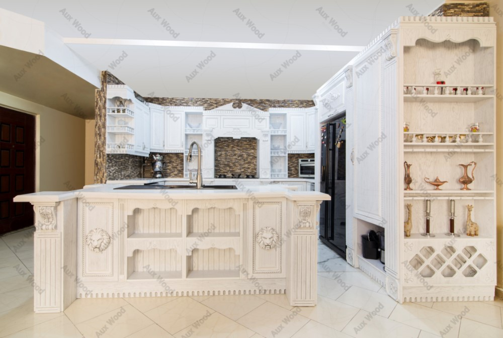 کابینت ممبران سفید با طراحی قفسه باز