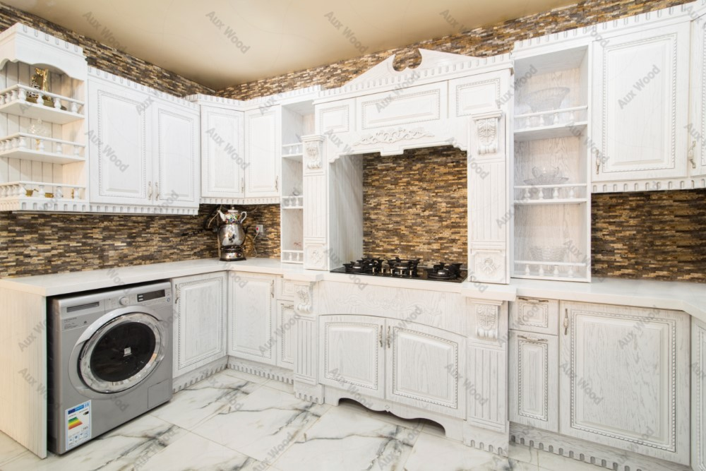 کابینت آشپزخانه ممبران سفید با منبت کاری