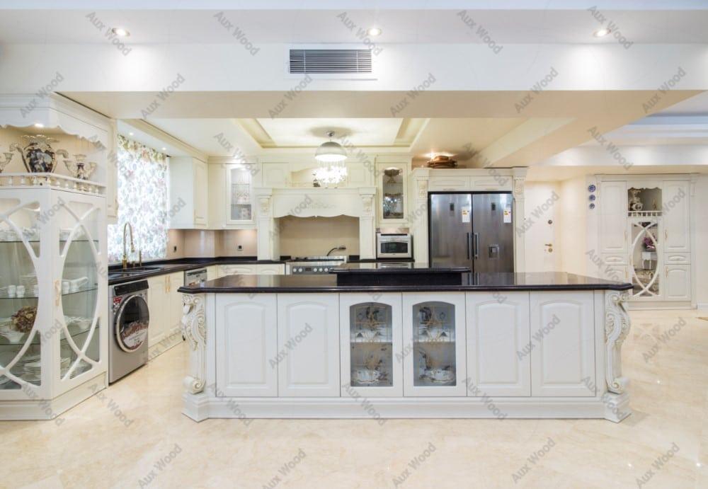 کابینت آشپزخانه ال شکل با جزیره از مجموعه پروژه های ممبران آکس چوب