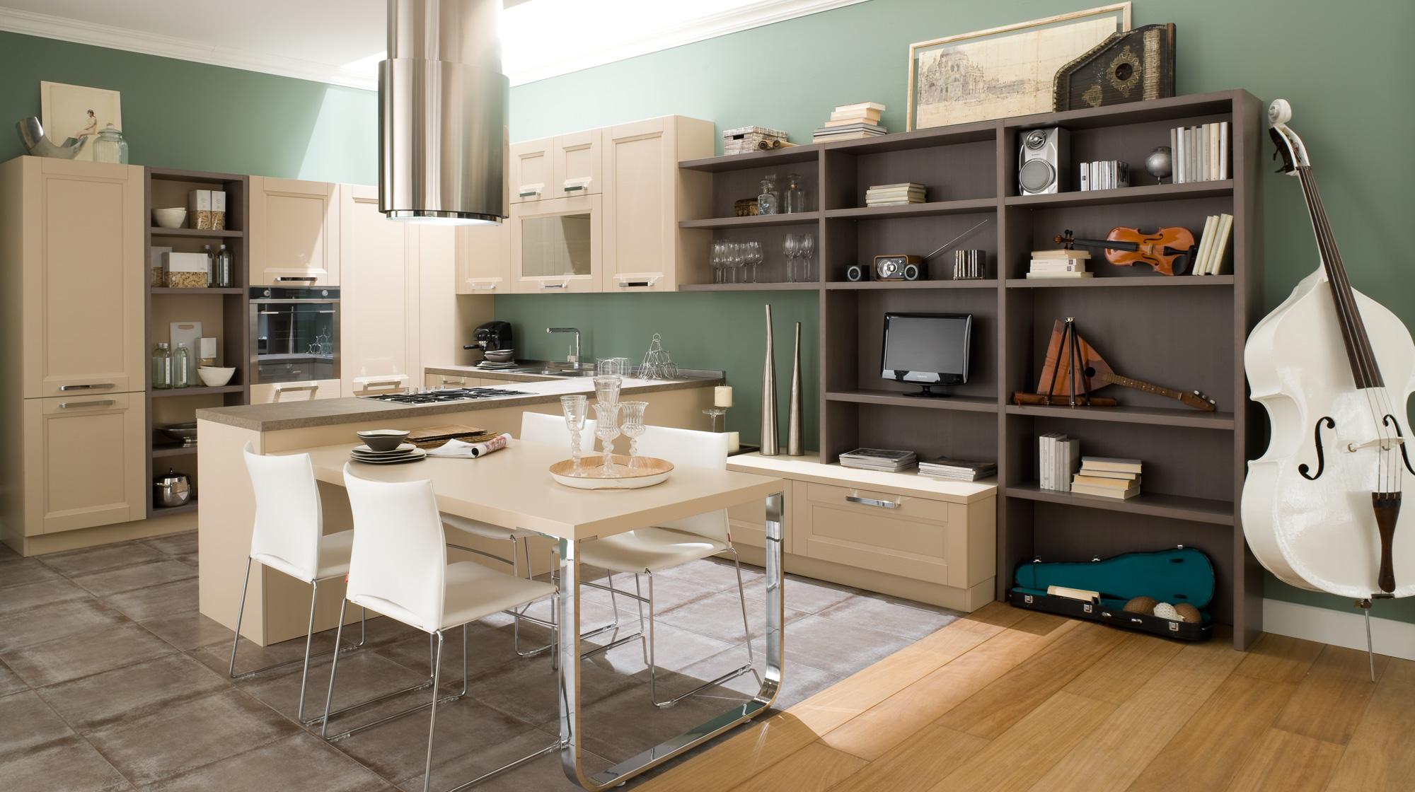 مدل کابینت آشپزخانه در کنار فضای پذیرایی به صورت ال شکل