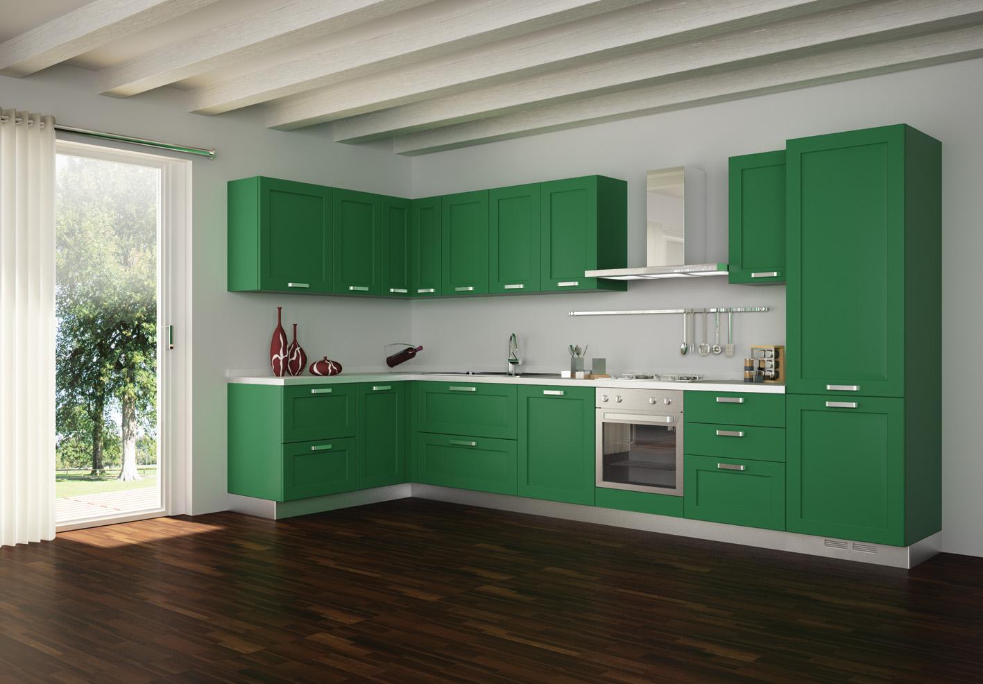 کابینت مدل ال شکل خارجی بزرگ با رنگ سبز مشرف به فضای سالن بدون جزیره