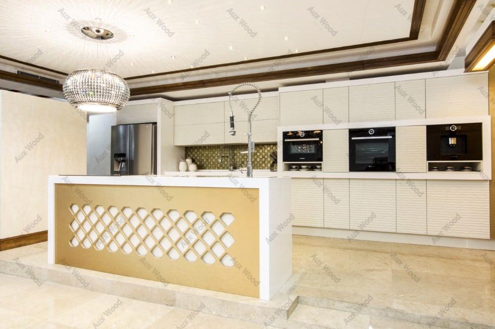 کابینت آشپزخانه با روکش pvc و جزیره