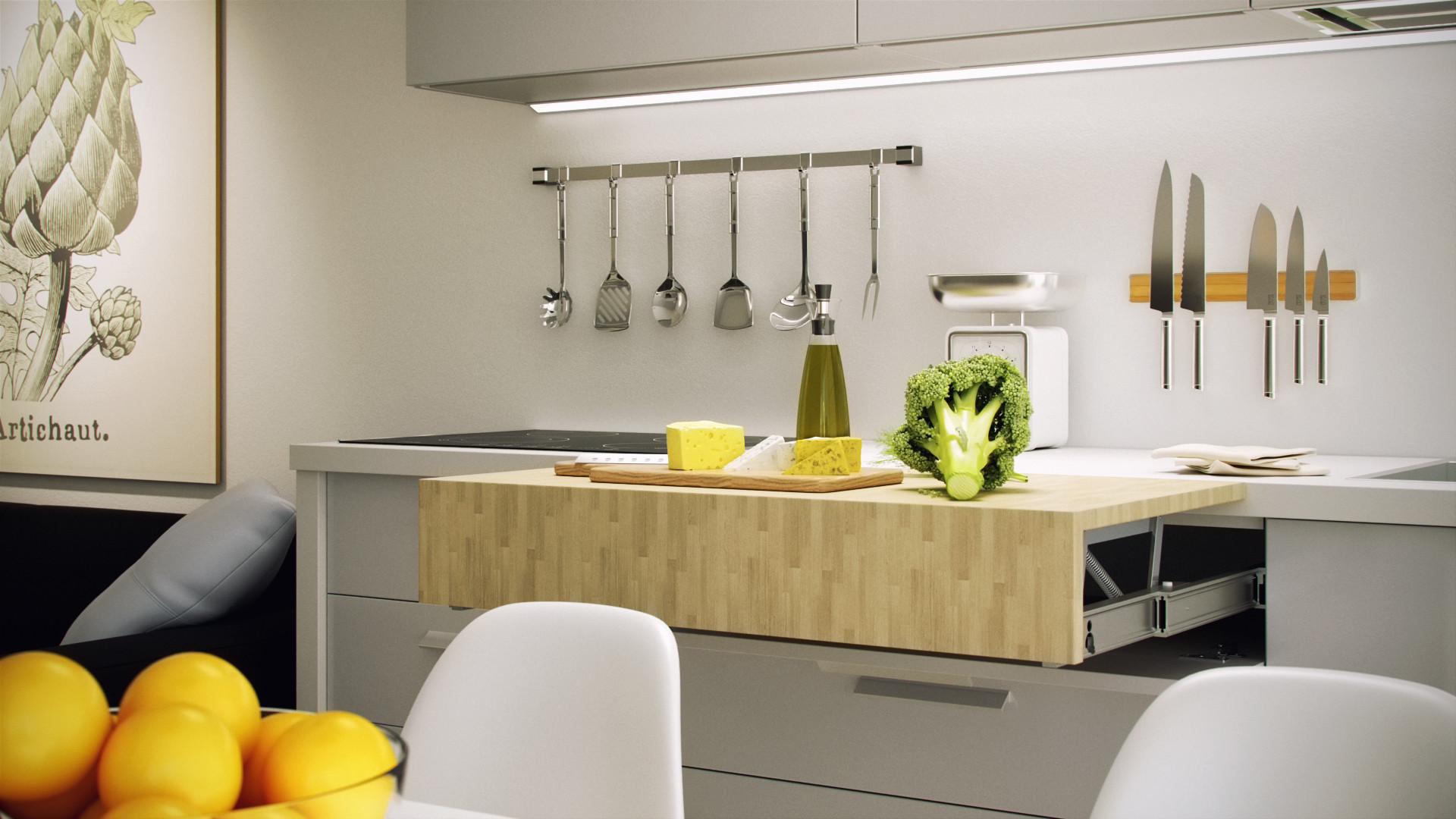 فضای کار کشویی در آشپزخانه کوچک