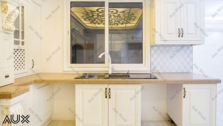 ست شدن کابینت وکیوم آشپزخانه با شیرآلات سفید