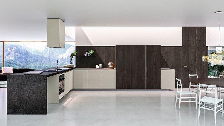 کابینت آشپزخانه مدرن خاجی قهوه ای