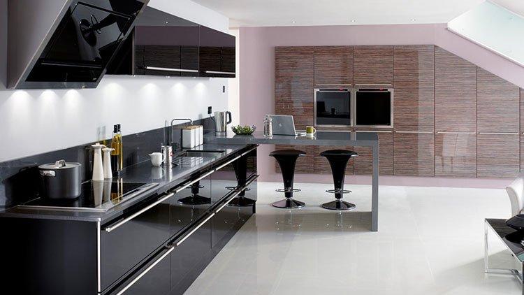 کابینت آشپزخانه هایگلاس مشکی