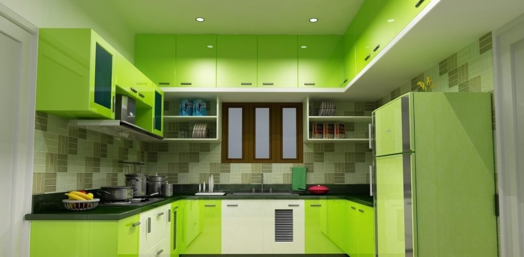 کابینت مدرن هایگلاس سبز