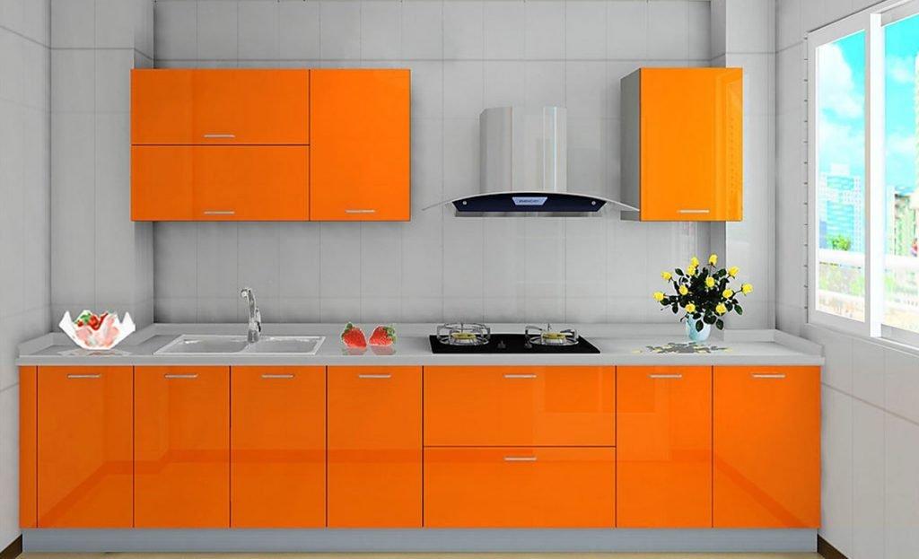 کابینت آشپزخانه هایگلاس نارنجی