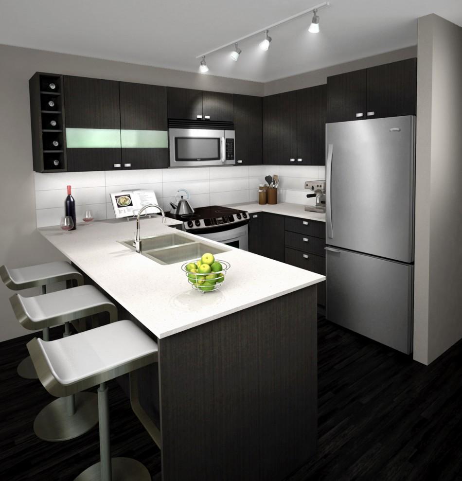 کابینت های آشپزخانه مدرن کوچک در رنگ های براق و مات موجود هستند