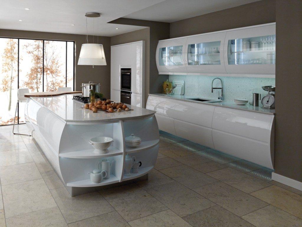 جزیره آشپزخانه به صورت کابینت منحنی