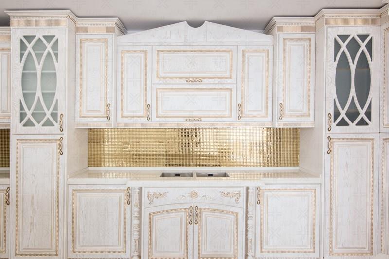 کابینت آشپزخانه سفید آکس چوب