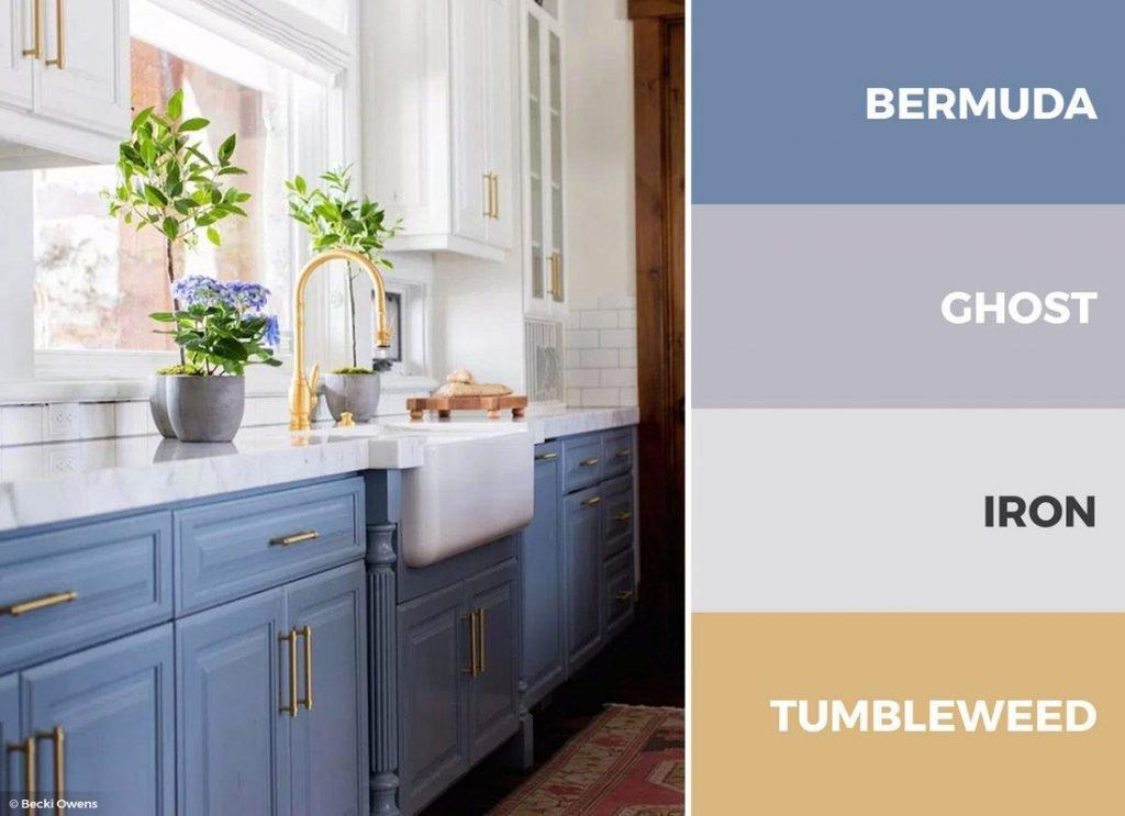 کابینت  آشپزخانه سفید آبی طلایی