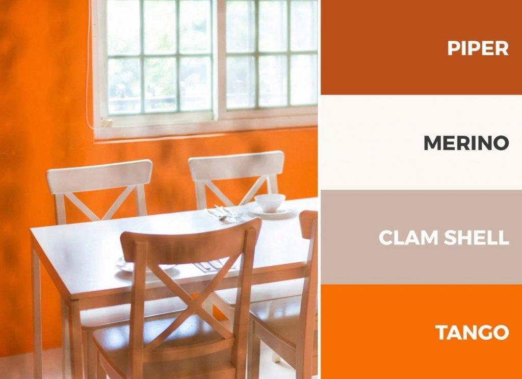 کابینت های آشپزخانه سفید و نارنجی