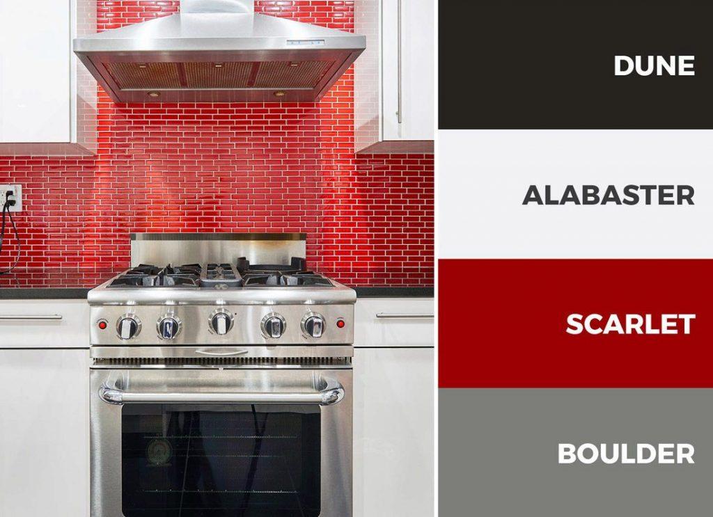 کابینت های آشپزخانه سفید و قرمز