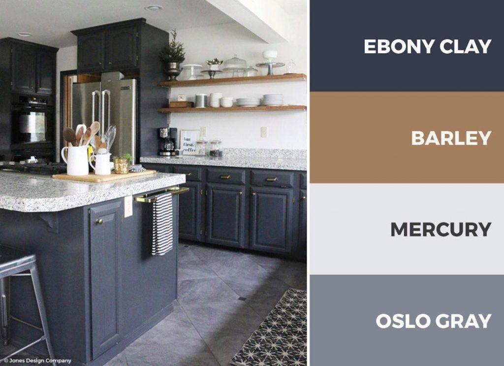 کابینت آشپزخانه سفید و آبی