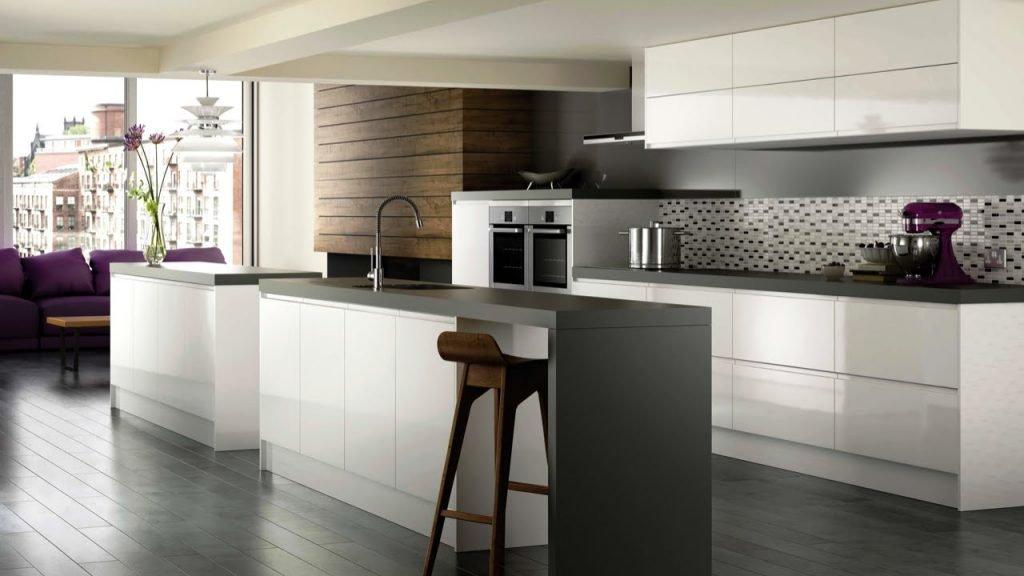 کابینت آشپزخانه هایگلاس سفید و طوسی