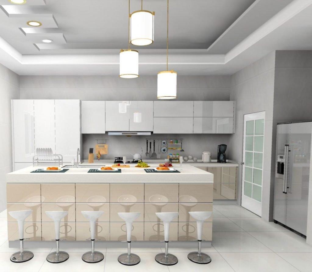 کابینت آشپزخانه هایگلاس سفید بهترین گزینه برای آشپزخانه کوچک