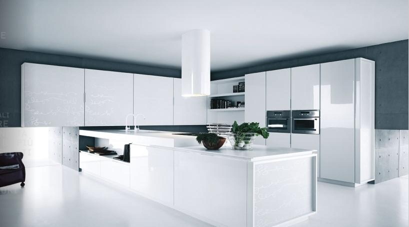 کابینت مدرن سفید رنگ یکپارچه با فضای ذخیره سفید