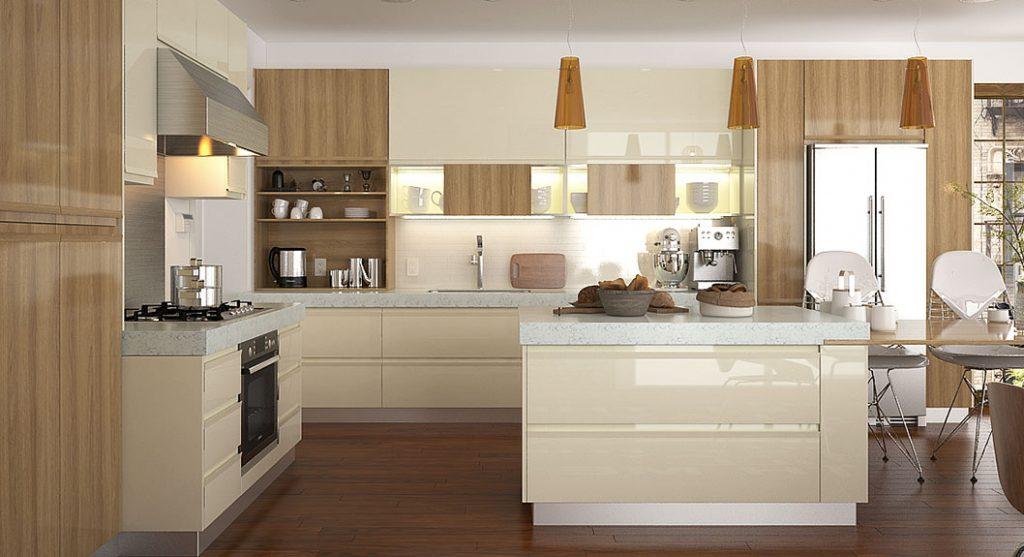 کابینت آشپزخانه PVC با رنگ خنثی