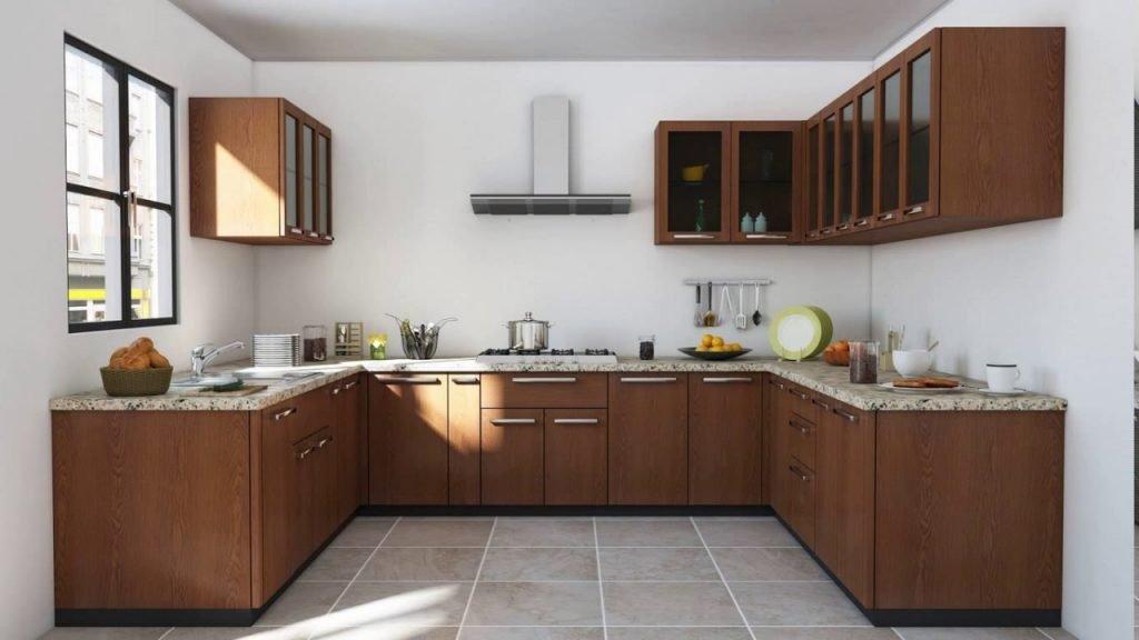 کابینت آشپزخانه U شکل با طرح چوب