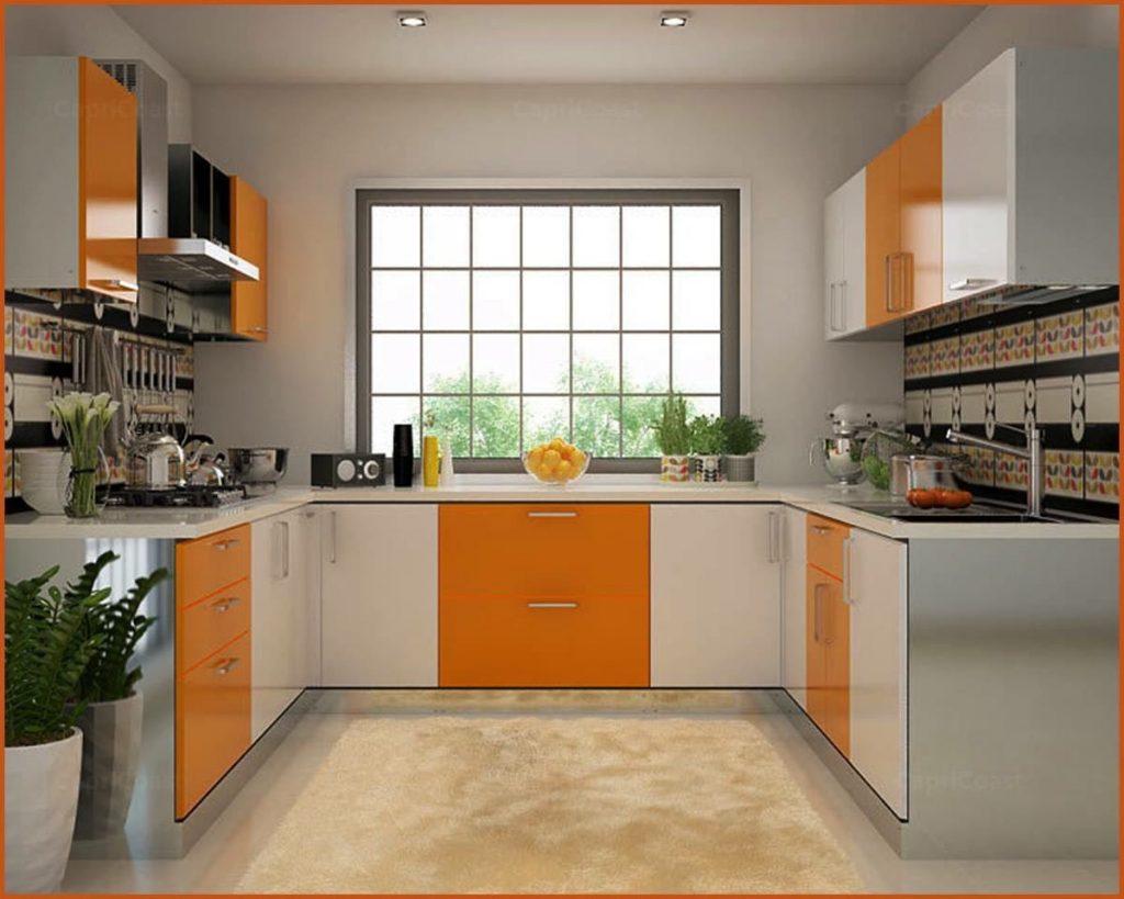 کابینت آشپزخانه U شکل با دو رنگ و هایگلاس