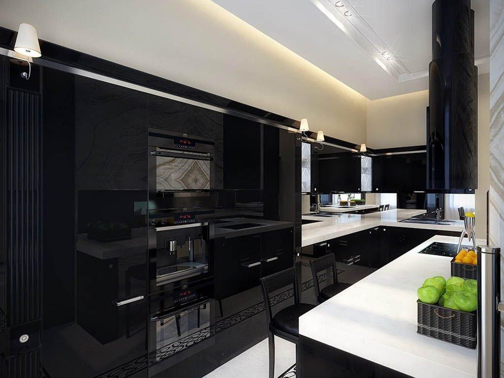 کابینت آشپزخانه مشکی هایگلاس