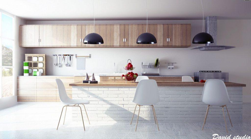 کابینت چوبی مدرن با آجر سفید