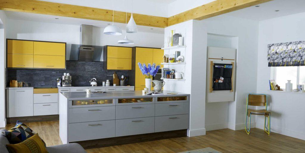 کابینت دو رنگ امدیاف طوسی زرد