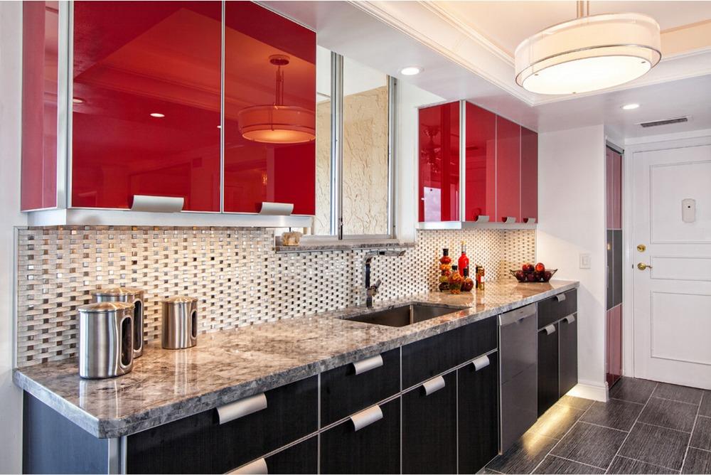 کابینت هایگلاس مشکی و قرمز