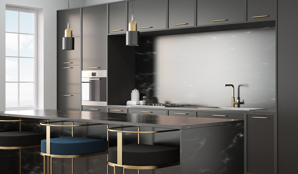 مدل آشپزخانه کوچک تیره