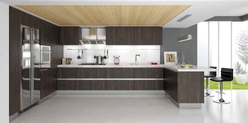 کابینت آشپزخانه مدرن چوب تیره