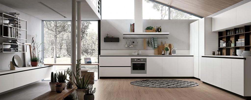 آشپزخانه سفید و مدرن با کف پارکت چوبی