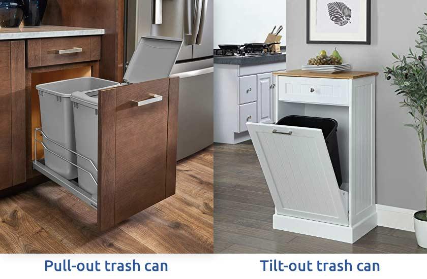 سطل آشغالهای ریلی درون کابینتی