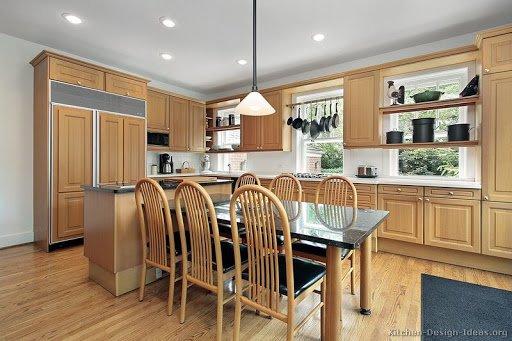 کابینت طرح چوبی برای آشپزخانههای بزرگ و جادار