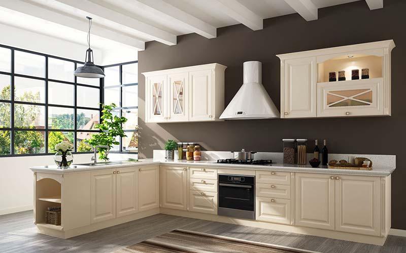 کابینت آشپزخانه ممبران جدید با رنگ روشن و درهای شیشهای 2021