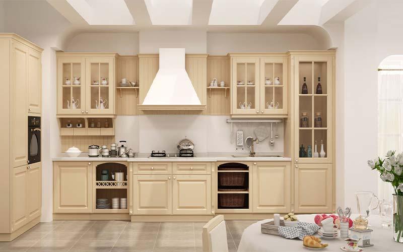 کابینت آشپزخانه ممبران کرم رنگ با هود سفید 2021