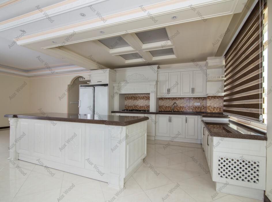 کابینت آشپزخانه ام دی اف سفید با پیشخوان رنگی